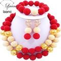 Fabuloso Rojo y Oro Perla Simulada ABD462 Nigeriano Boda Perlas Africanas Joyería Conjunto Tradicional Del Envío Libre