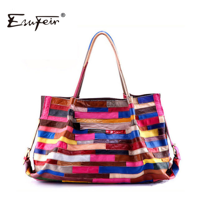 2017 Famous Brand Women Genuine Leather Handbag Sheepskin Fashion Colorful Patchwork Handbag Casual Women Shoulder Bag Women Bag