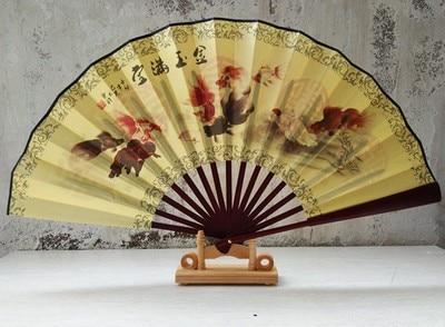 """1"""" украшенный Шелковый складной Ручной Веер человек большой бамбуковый китайский Печатный веер из ткани традиционное ремесло свадебные сувениры веер - Цвет: goldfish"""