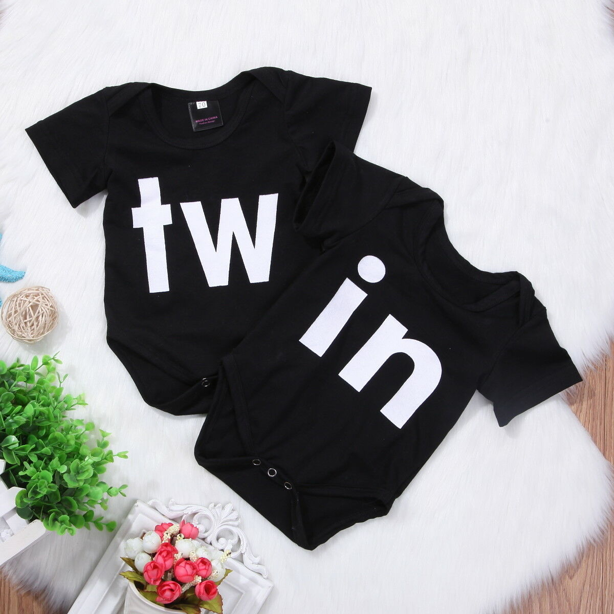 2019 Summer Short Sleeve Black Round Neck Twin Sunsuit Jumpsuit Clothes Clothing Outfits Newborn Infant Baby Girl Boy Bodysuit