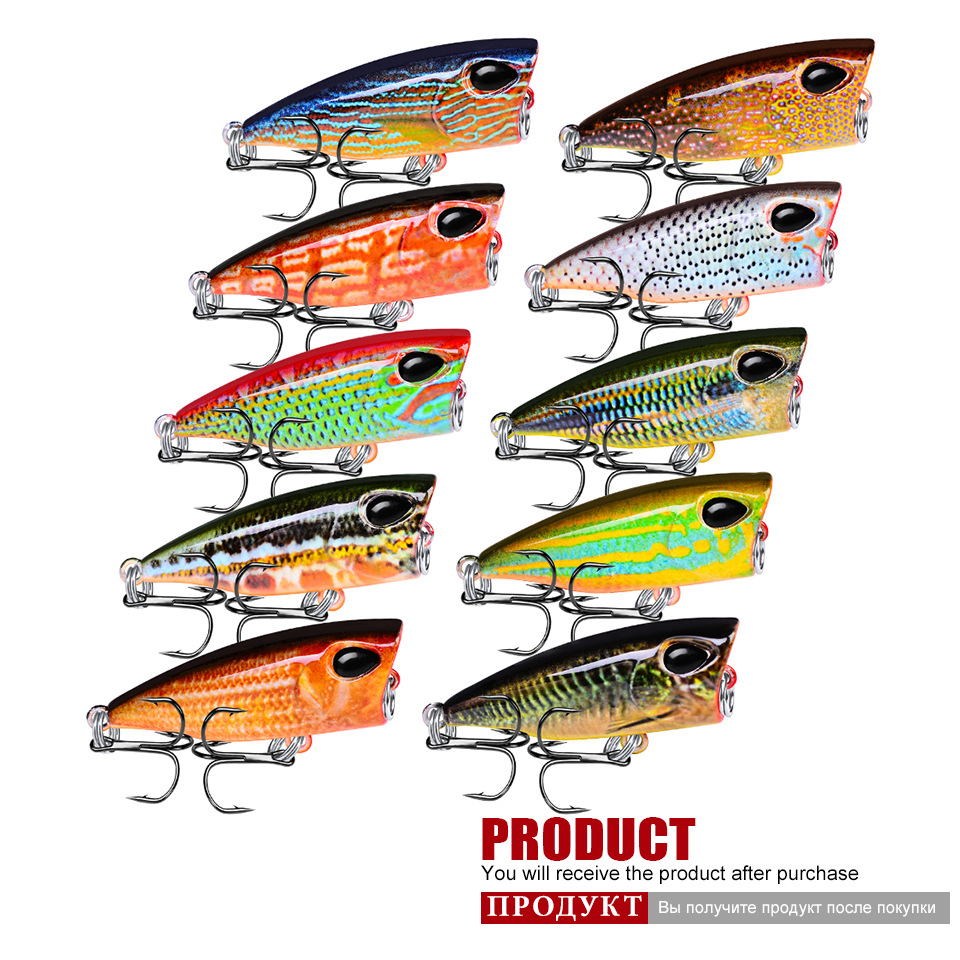 10PC Lot Popper fishing tackle Fishing Lures 10 Colors Popper Lures 0 12oz 3 5g 1 65 quot 4 2cm Bass Baits 10 Hook Fishing Bait in Fishing Lures from Sports amp Entertainment