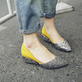 2016 New Brand Horse Hair Ladies Shoes Fashion Glitter Low High Heels Casual Thick Heel Pointed Toe Wedge Shoes Woman