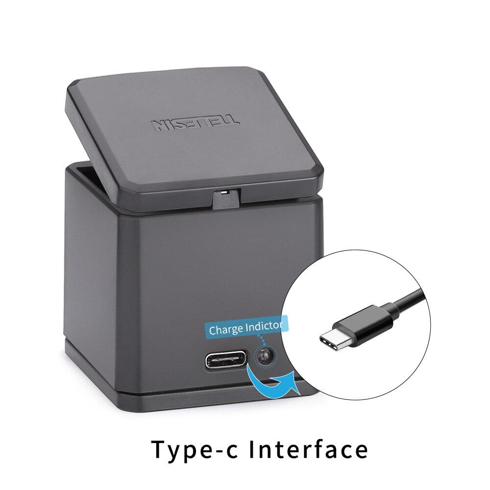 TELESIN 3 Slots led chargeur de batterie De Charge boîte de rangement + 3 bloc-pile + Type C Câble pour GoPro Hero 5 6 7 caméra Accessoires - 4