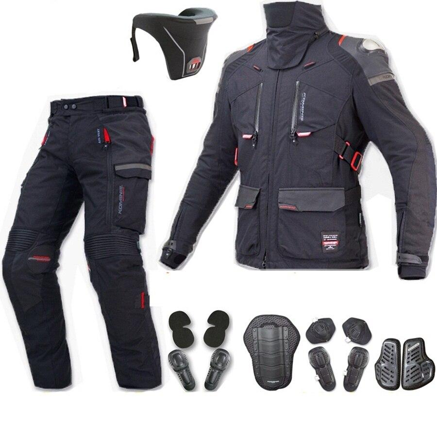 Livraison gratuite 1 set Automne Hiver Motocross Armure Équipement De Protection Imperméable À L'eau Hors route Moto Veste et Pantalon