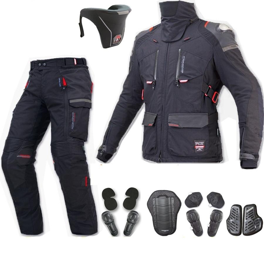 Livraison gratuite 1 set automne hiver Motocross corps armure équipement de protection imperméable chaud tout-terrain moto veste et pantalon