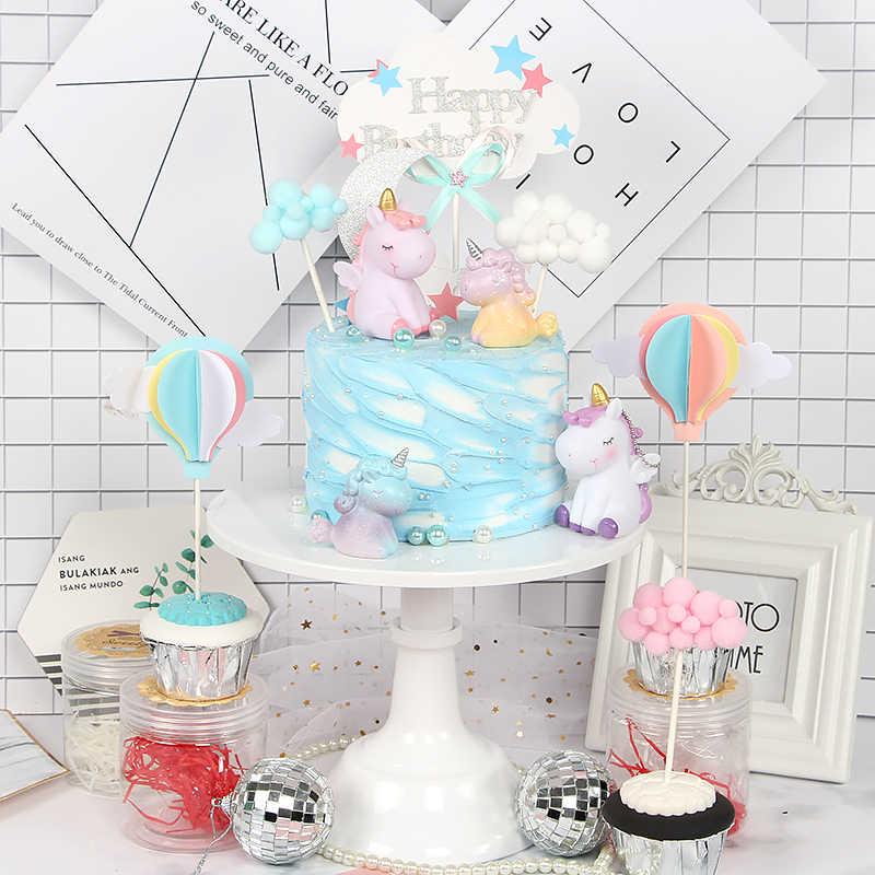 Pink Unicorn Cake Topper Cloud Balloons Decoration Birthday Flags Wedding Dessert Table
