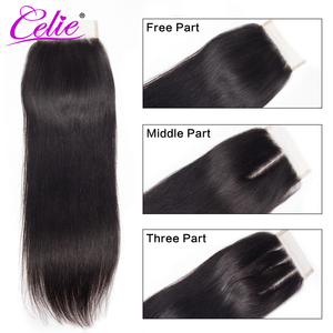 Image 2 - Celie Straight Human Hair Bundles With Closure 3 Bundles With Closure Remy Brazilian Straight Hair Bundles With Closure