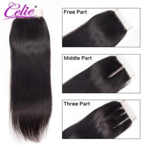 Image 2 - Celie em linha reta feixes de cabelo humano com fecho 3 pacotes com fechamento remy brasileiro feixes de cabelo reto com fechamento