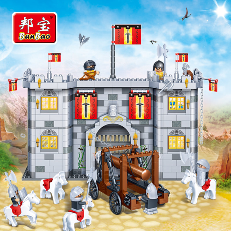BanBao Castle Educational Building Stacking Blocks Toys For Children Gifts Kinght Soldier Weapon Siege Stickers Compatible Legoe banbao kung fu educational building blocks toys for children kids gifts super hero sky of evil temple chinese style