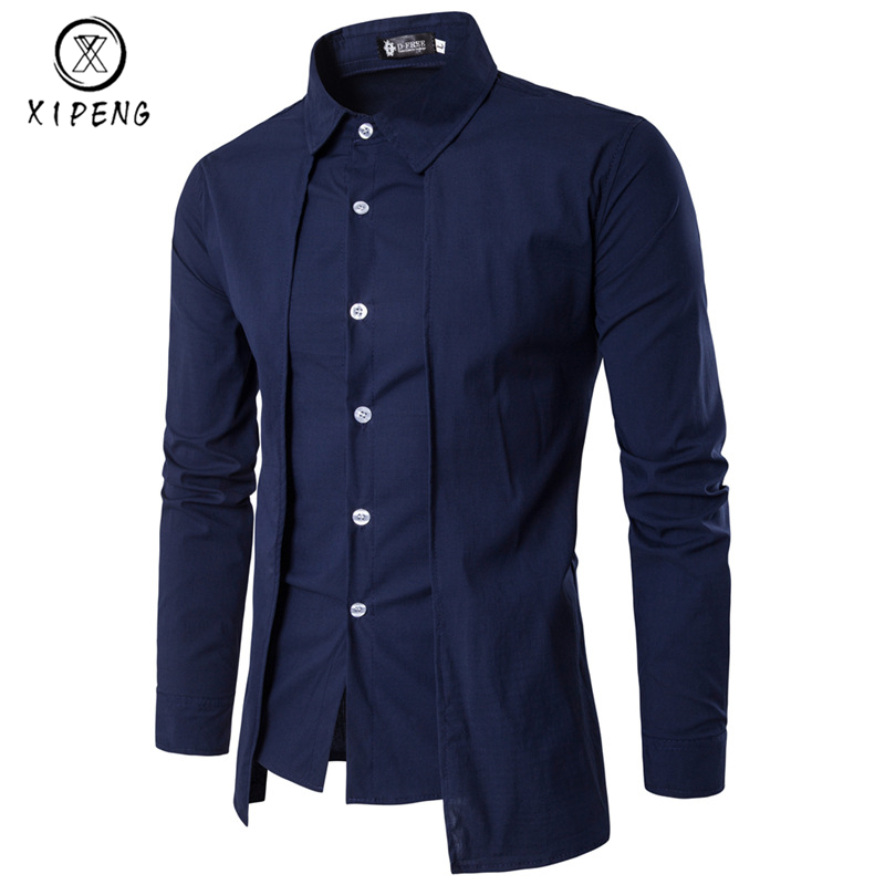 New Arrival Autumn Men Shirt 2018 Unique Design Fake two pieces Stylish Mens Dress Shirt Long Sleeve Casual Slim Fit Male Shirts