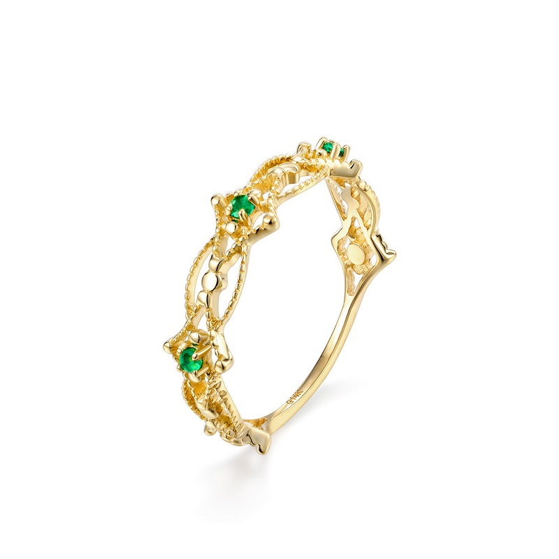 JXXGS Solid 14K Emerald Ring 1.5*1.5mm Natural Gemstone Women Classic Fine Jewelry Ring With Zircon Trendy Fashion Gift