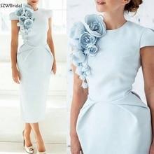 הגעה לניו שווי שרוולי תה אורך אור כחול נשים שמלה עם פרחים קצר שרוולים פורמליות שמלת ערב 2020 נשף מסיבת שמלה