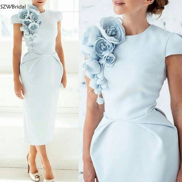 New Arrival Cap Sleeves Tea Length Light Blue Women Dress with Flowers Short Sleeves Formal evening dress 2020 Prom party dress