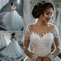 Vestido de noiva manga longa, а силуэт, винтажные Свадебные платья длинные рукава, платья для невесты, чистый белый цвет, Vestido de casamento