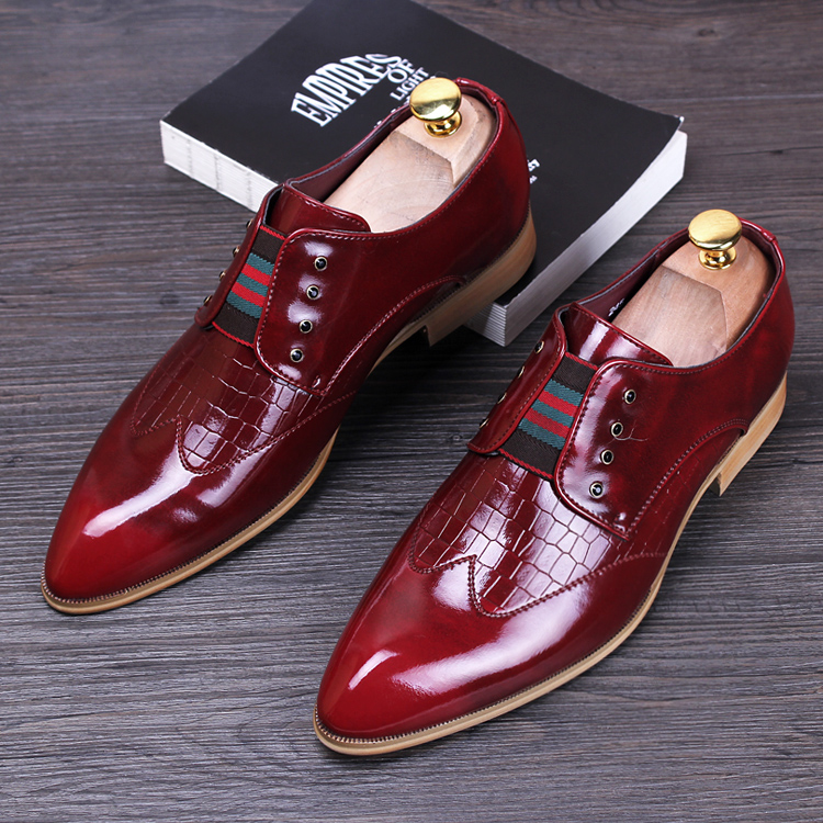 men luxury casual wedding nightclub dress patent genuine leather shoes pointed toe brogue flats shoe slip loafers oxford male - Miyado store