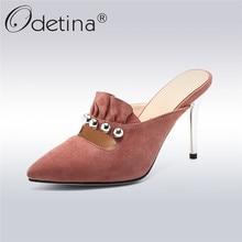Odetina 2018 Fashion Luxury Kid Suede Pumps Women Stilettos High Heels  Pointed Toes Slip on Ladies 121d6a1ae8a3