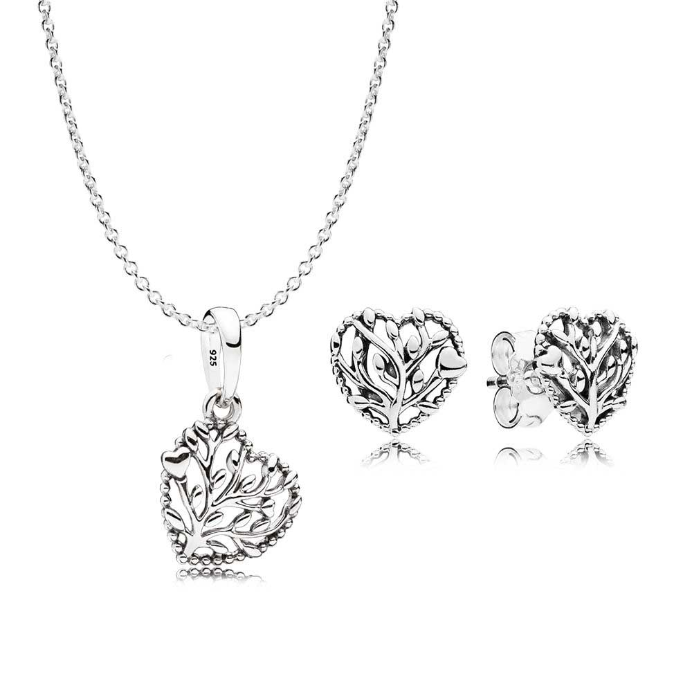 2018 100% 925 Sterling Silver Flourishing Hearts Necklace And Earring Gift Set Fit Charm Original Necklace A Set Of Prices