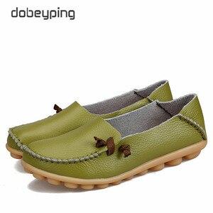Image 4 - 2017 جديد حذاء نسائي كاجوال جلد طبيعي امرأة الشقق الأم الناعمة المتسكعون الإناث القيادة الأحذية الصلبة قارب حذاء حجم 34 44