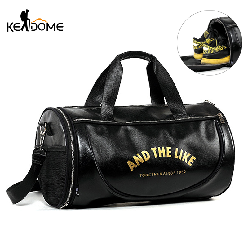 Men Gym Bag PU Leather Bags Striped Basketball Training Fitness Tas Travel Luggage Handbag Sac De Sport For Women Yoga XA571WD