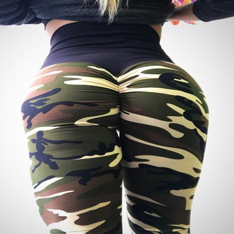 Hayoha Fashion Camouflage Wrinkles Push Up Leggings Women Fitness Slim Jeggings High Elastic Dry Quick Sporting Pants And Tops