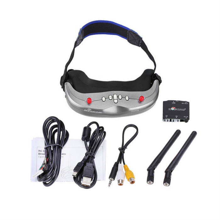 Boscam GS922 FPV AIO Video Glasses Goggles 5.8GHz Dual Diversity 32 Channels Receiver 640 x 480(30fps) w/DVR and Head-Tracker boscam galaxy rd2 7 inch 800 x 480 hd fpv monitor for remote control plane 5 8g 32 channels vedio receiver