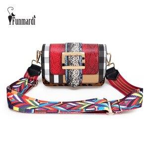 Image 1 - FUNMARDI moda yılan Crossbody çanta kadın omuzdan askili çanta lüks leopar kadın Flap çanta panelli PU deri çanta bayan WLHB3004