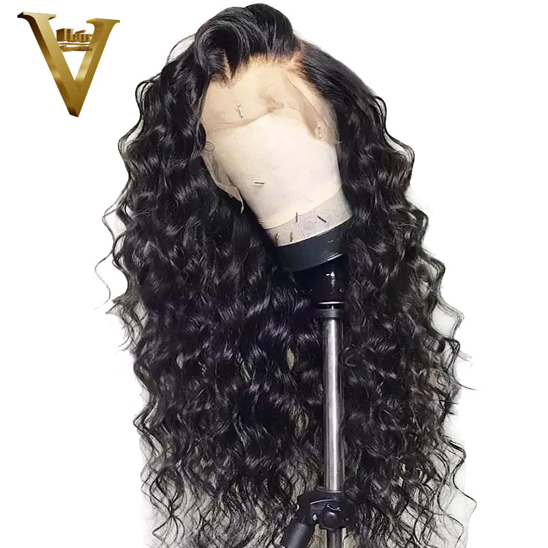 Curly 360 Lace Frontal Human Hair Wigs For Black Women With Baby Hair Loose Wave Brazilian
