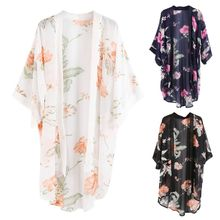 3 Colors Women Summer Japanese Style Half Sleeves Kimono Cape Vintage Colored Floral Printed Open Front Cardigan Semi-Sheer Loos novelty collarless half sleeves high low tassel embellished kimono for women