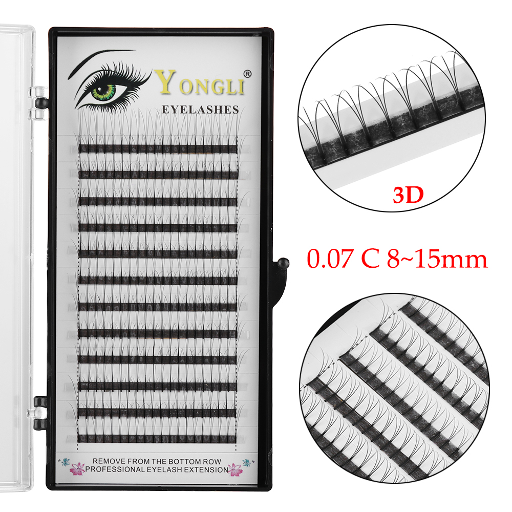 SKONHED Premade 3D Russian Volume Lash Fans 0.07 Thickness C Curl Individual Eyelash Extensions Eye Makeup Tools Faux Eyelashes