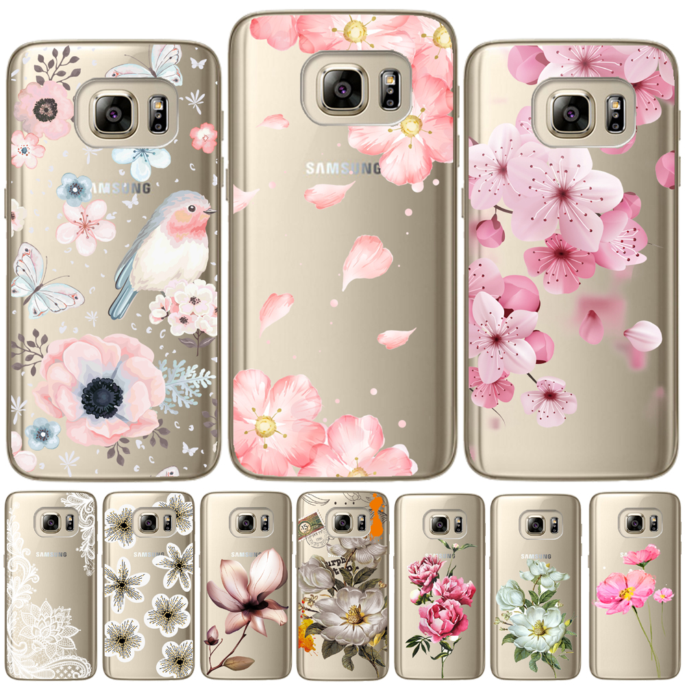 Flower Rose Soft TPU Silicone Back Cover For Samsung Galaxy S5 Mini S6 S7 Edge S8 S9 S10 Plus E Note 5 8 9 Floral Leaves Case