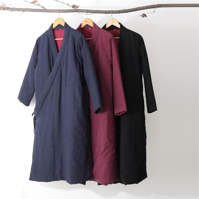 Hisenky hommes hiver Trenchcoat Style chinois Long coupe vent Hanfu Robes épais chaud manteau Vintage coton rembourré vestes 4 couleurs - 6