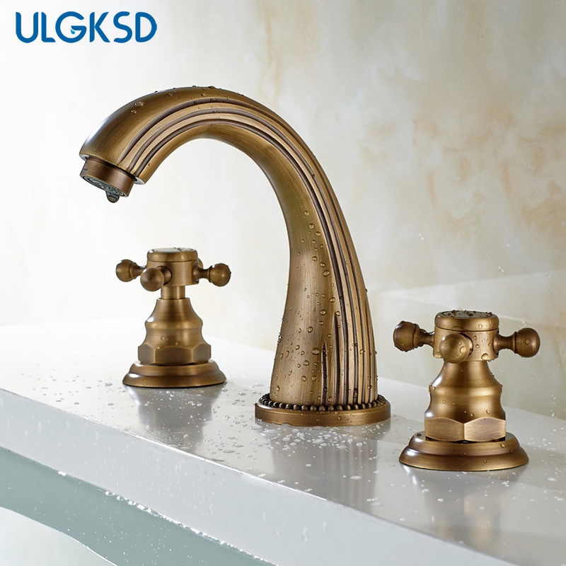 ULGKSD Antique Brass Basin Faucets 3pcs Bathroom Sink faucet Mixer Tap Dual Handles Triple Holes Cold and Hot Water ulgksd bathroom faucet dual switch deck mount hot and cold water mixer tap para vanity sink faucets mixing valve