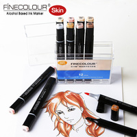 Finecolour Ef102 Skin Tone Brush Markers 36 Set Calligraphy Pens Not Copic Soft Sketch Manga Marker