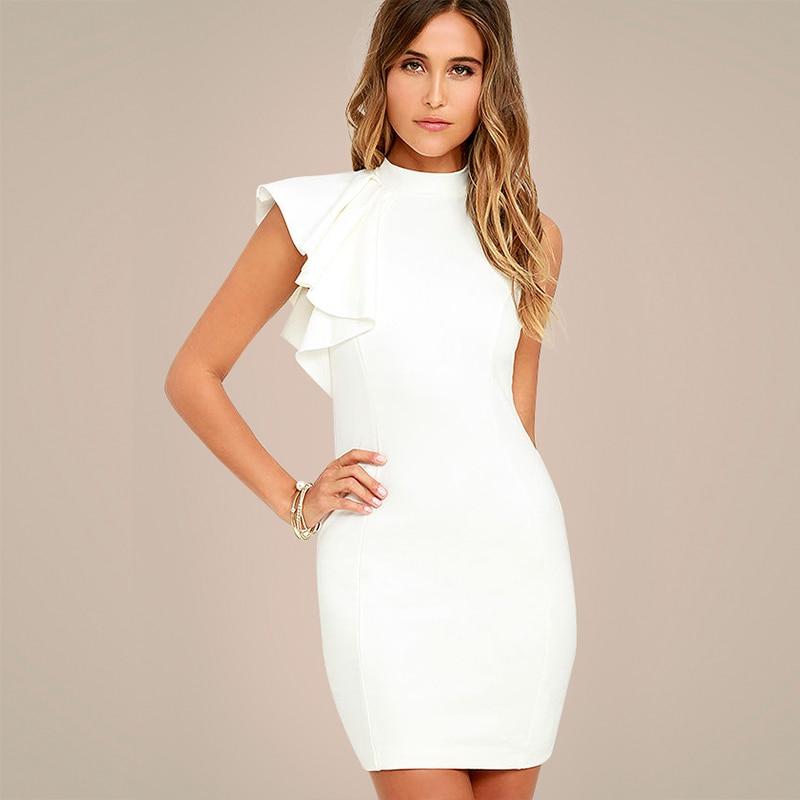 White Ol Elegant Bodycon Party Dresses 2018 Women One Side