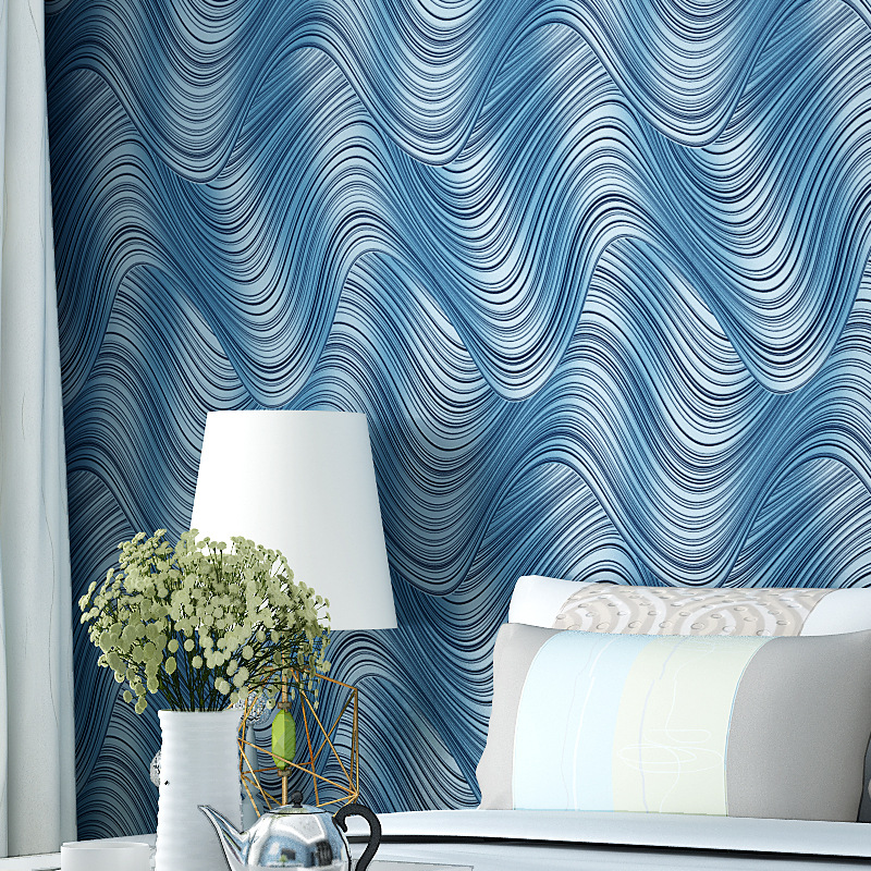 beibehang High-end 3d nonwoven wallpaper Modern minimalist wavy stripes Abstract lines TV background wall papers home decor beibehang chinese high end 3d