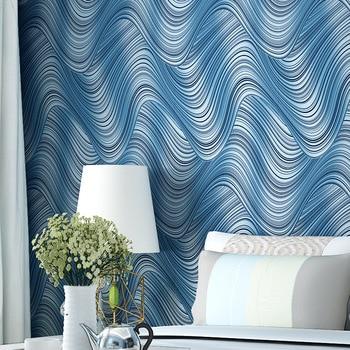 beibehang Non-woven wallpaper roll modern minimalist wavy stripes abstract wall 3d home decoration Mural 3D