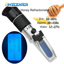 все цены на 3-in-1 Honey Refractometer Brix/Moisture/Baume Tester Meter ATC, Sugar Water Content Level, Tri-Scale 58-90%/12-27%/38-43Be' онлайн
