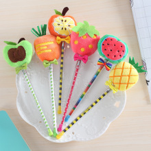 Hot sale 10pcs/lot Korea stationery cute fruit fur ball gel pen plush  creative student supplies