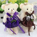 Plush toy doll bear flower bouquet material toys Mini 12CM PP cotton baby girls teddy bear for promotional gift free shipping