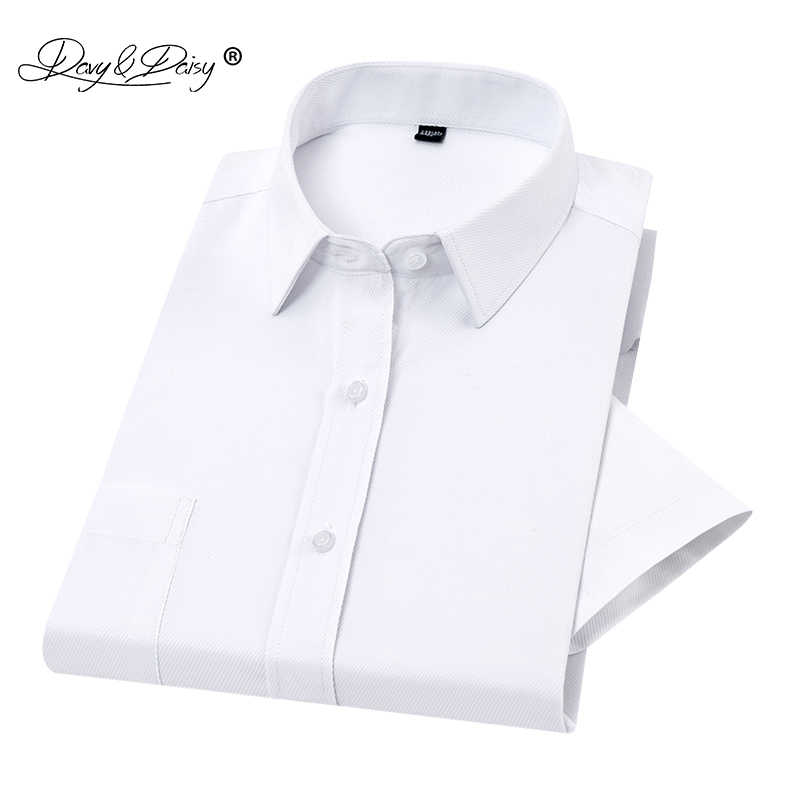 2019 新しい夏のメンズシャツ半袖クラシックストライプツイル男性シャツブランドフォーマルビジネス白シャツ男 DS255