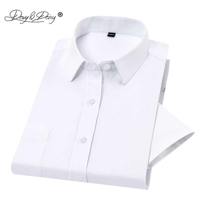 2019 New Summer Men Shirt Short Sleeved Classical Striped Twill Male Shirts Brand Formal Business White Shirt Man DS255