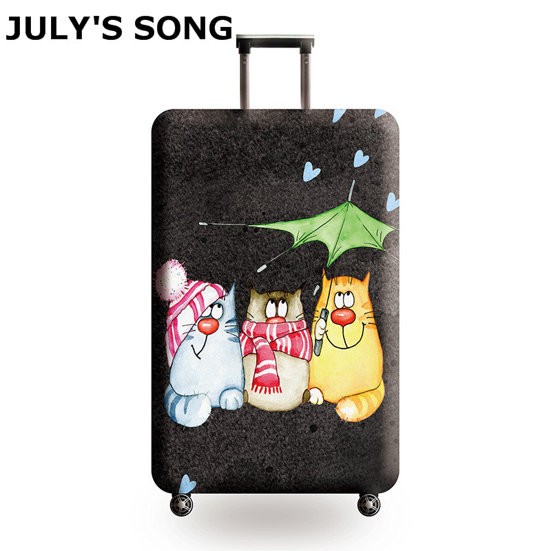 JULY'S SONG New Suitcase Elastic Dust Cover Luggage Case for 18~32 inch Password Box Trolley Case Cat Pattern Protective Cover forudesigns 3d unicorn cat luggage protective cover anti scratch luggage cover for 18 28 trolley suitcase elastic dustproof