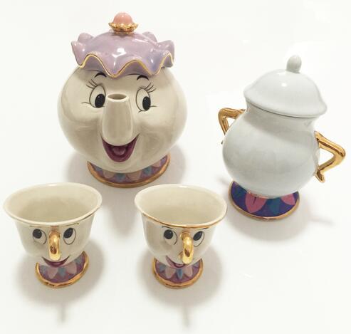Cartoon Beauty And The Beast Mug Tea Set Teapot Mrs Potts Pot Chip Cup One For