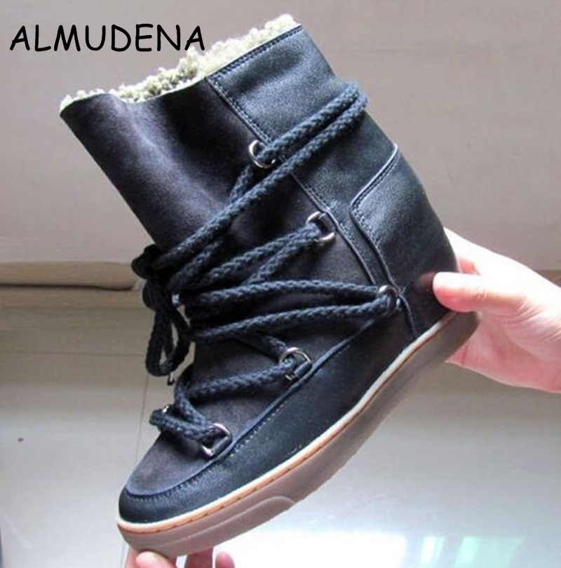 Winter Warm Fur Snow Boots Black Brown Leather Women Wedge Ankle Boots Lace Up Height Increasing Outdoor Casual Shoes Woman цены онлайн