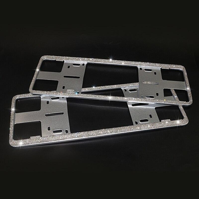 Universal Bling Alloy Diamond Gun Mental License Plate Frames Front Rear 2PCS