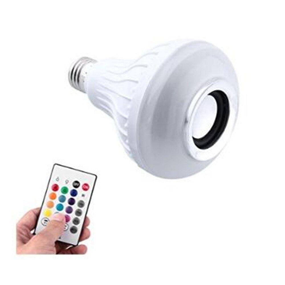 Smart <font><b>LED</b></font> RGB Лампы Беспроводная Связь <font><b>Bluetooth</b></font> Спикер Плеера <font><b>E27</b></font>/E26 AC85-265V Светодиодные с Пультом Дистанционного Управления
