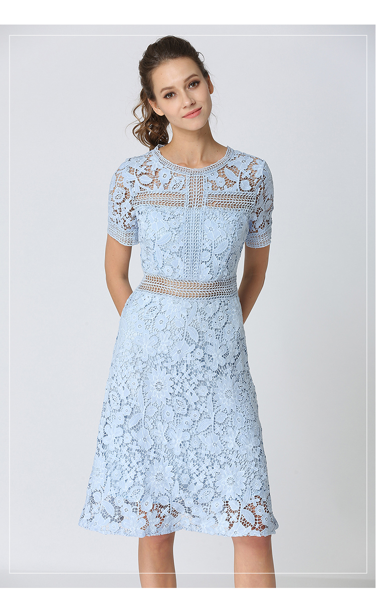 Summer Hollowed Up Blue Lace Dress Dress Women Elegant Midi Party Dress Vestido Mujer Verano 2018 Ladies Dress Robe Femme K6835 4