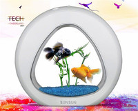 SUNSUN acrylic aquarium ecology fish tank office desktop creative aquarium integration filter LED light system YA 02 big size