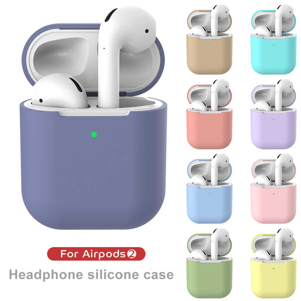 Pure Color TPU Silicone Bluetooth Wireless Earphone Case For AirPods Protective Cover Skin Accessories for Apple Airpods 2