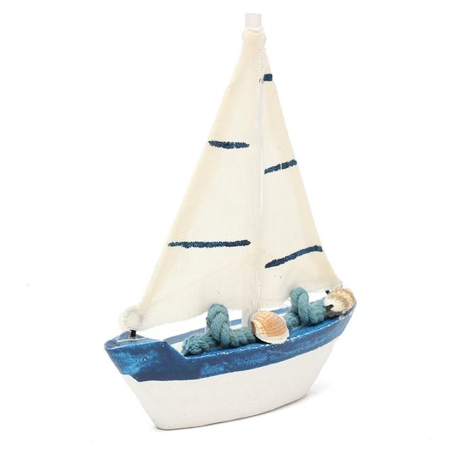 Retro Wooden Sailing Boat Decorative Figurine